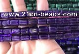 CTB257 15.5 inches 8*10mm tube natural amethyst gemstone beads