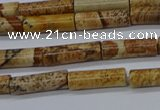 CTB332 15.5 inches 4*13mm tube picture jasper beads wholesale