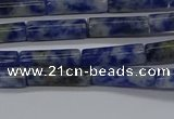 CTB355 15.5 inches 4*13mm tube blue spot stone beads wholesale