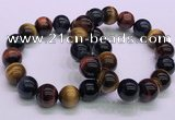 CTB39 7.5 inches 14mm round colorful tiger eye beaded bracelets