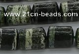 CTB527 15.5 inches 10*13mm triangle green silver line jasper beads