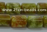 CTB548 15.5 inches 10*13mm triangle green dragon serpentine jasper beads