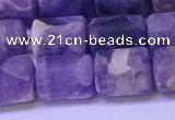 CTB563 15.5 inches 10*13mm triangle matte dogtooth amethyst beads