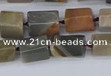 CTB737 15.5 inches 6*10mm - 8*12mm faceted tube polychrome jasper beads