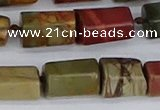 CTB738 15.5 inches 6*10mm - 8*12mm faceted tube picasso jasper beads