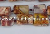 CTB741 15.5 inches 6*10mm - 8*12mm faceted tube birdeye rhyolite beads