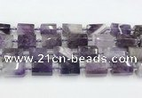 CTB877 13*25mm - 14*19mm faceted tube amethyst beads