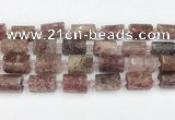 CTB879 13*25mm - 14*19mm faceted tube strawberry quartz beads