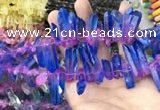 CTD1212 Top drilled 7*25mm - 9*40mm sticks plated quartz beads