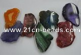 CTD1517 Top drilled 40*50mm - 45*70mm freeform agate slab beads