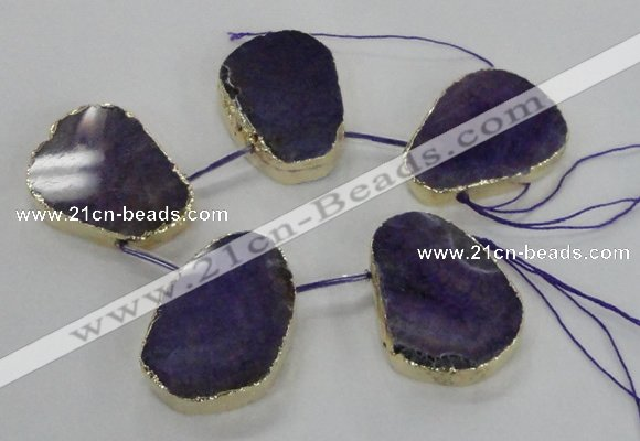 CTD1601 Top drilled 35*40mm - 35*45mm freeform agate beads