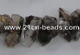 CTD1659 Top drilled 6*12mm - 15*25mm sticks green phantom quartz beads