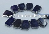 CTD1770 Top drilled 18*28mm - 22*35mm freeform lapis lazuli slab beads