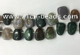 CTD2148 Top drilled 15*25mm - 18*25mm freeform Indian agate beads