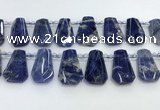 CTD2270 Top drilled 16*28mm - 20*30mm faceted freeform sodalite beads