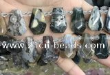 CTD2278 Top drilled 16*28mm - 20*30mm faceted freeform ocean agate beads