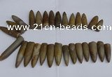 CTD2562 Top drilled 12*35mm - 15*55mm bullet agate fossil beads