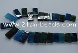 CTD2611 Top drilled 14*27mm - 16*42mm rectangle agate beads