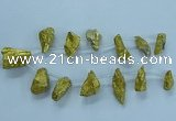 CTD2635 Top drilled 10*25mm - 20*45mm nuggets plated druzy quartz beads