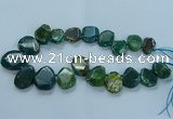 CTD2645 Top drilled 20*25mm - 30*40mm faceted freeform agate beads