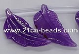 CTD2773 Top drilled 20*45mm - 25*55mm carved leaf agate beads