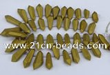 CTD2863 Top drilled 15*20mm - 22*50mm sticks plated quartz beads