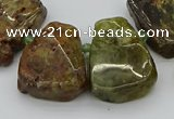 CTD3537 Top drilled 15*20mm - 25*30mm freeform green garnet beads