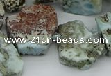 CTD3539 Top drilled 15*20mm - 25*30mm freeform larimar beads