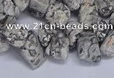 CTD3614 Top drilled 10*14mm - 13*18mm nuggets grey picture jasper beads