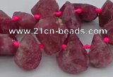 CTD3626 Top drilled 10*15mm - 15*20mm freeform pink tourmaline beads