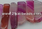 CTD371 Top drilled 10*20mm - 12*55mm wand fuchsia agate beads