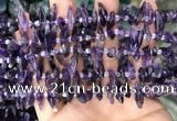 CTD3755 15.5 inches 4*6mm - 6*20mm sticks amethyst gemstone beads