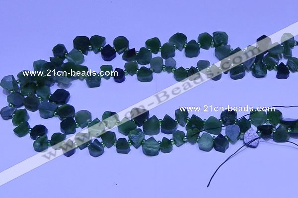 CTD3860 Top drilled 8*8mm - 10*12mm freeform Canadian jade beads