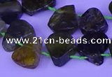 CTD3873 Top drilled 12*16mm - 15*20mm freeform green garnet beads