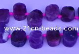 CTD3887 Top drilled 8*10mm - 10*14mm freeform pink tourmaline beads