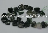 CTD435 Top drilled 18*25mm - 22*30mm freeform moss agate beads