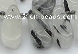 CTD483 Top drilled 10*22mm - 15*45mm freeform black rutilated quartz beads