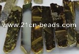 CTD533 Top drilled 10*30mm - 10*65mm wand plated agate beads