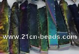 CTD537 Top drilled 10*30mm - 10*65mm wand plated agate beads