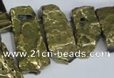 CTD569 Top drilled 15*25mm - 20*65mm freeform plated agate beads