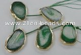 CTD774 30*45mm - 35*50mm freeform agate beads with brass setting