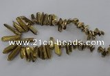 CTD785 Top drilled 8*18mm - 8*35mm nuggets plated quartz beads
