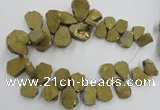 CTD901 Top drilled 15*20mm - 20*30mm freeform plated quartz beads