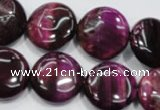 CTE1005 15.5 inches 18mm flat round dyed red tiger eye beads