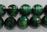CTE1016 15.5 inches 14mm faceted round dyed green tiger eye beads
