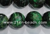 CTE1019 15.5 inches 20mm faceted round dyed green tiger eye beads