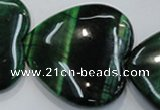 CTE1086 15.5 inches 40*40mm heart dyed green tiger eye beads