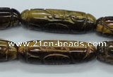 CTE116 15.5 inches 12*40mm carved cylinder yellow tiger eye beads