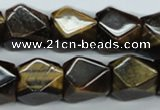CTE119 15.5 inches 14*18mm faceted cuboid yellow tiger eye beads