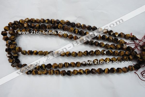 CTE1201 15 inches 8mm faceted nuggets yellow tiger eye beads